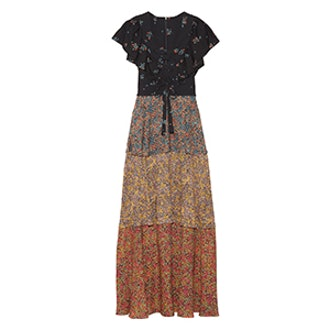 Tiered Lace-Up Printed Cady Maxi Dress