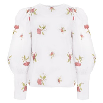 Floral Embroidered Puffy Sleeve Shirt
