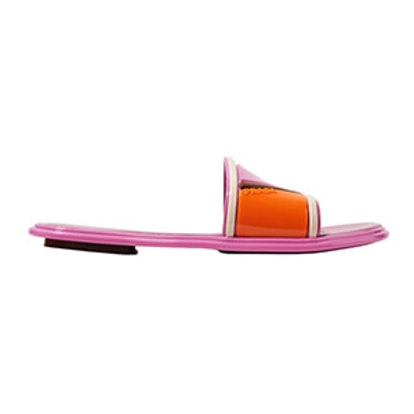 Color-Block Rubber And Leather Slides