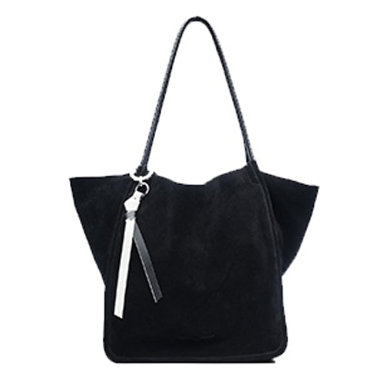 Extra Large Tote In Black Suede