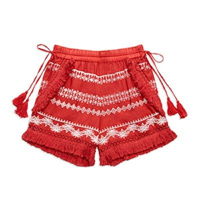 Karlene Embroidered Fringe Shorts