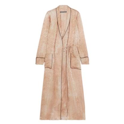 Silk-Damask Wrap Dress