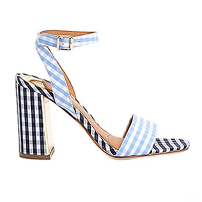 Gingham Print Block Heel Sandals