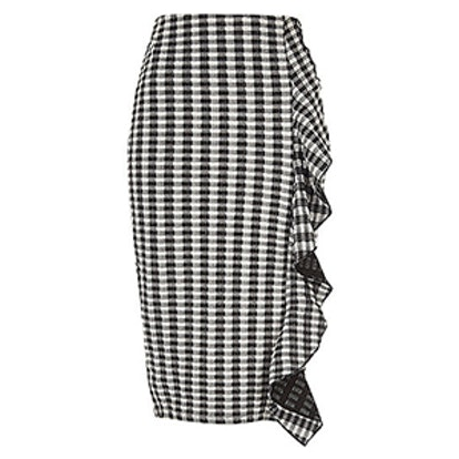 Black Gingham Print Frill Front Pencil Skirt