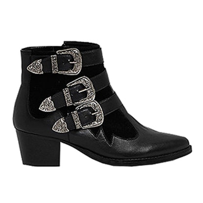 Western Buckle Strappy Boots