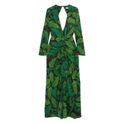 Rose Open-Back Printed Silk-Georgette Maxi Dress