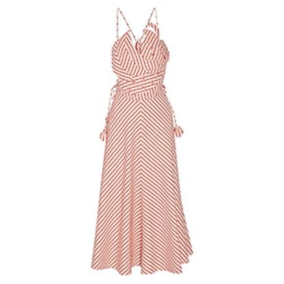 Tutti Frutti Appliquéd Striped Linen And Cotton-Blend Maxi Dress