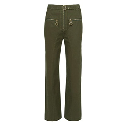 Zip Front Straight Leg Trousers