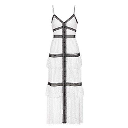Black Trim White Lace Maxi Dress