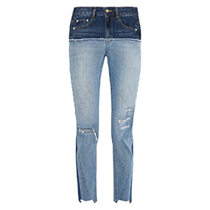 Two-Tone Distressed High-Rise Slim-Leg Jeans