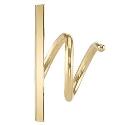 Gold Bar Spiral Earring