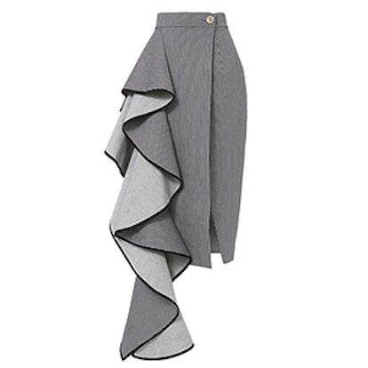 Cascade Ruffle Pinstripe Skirt