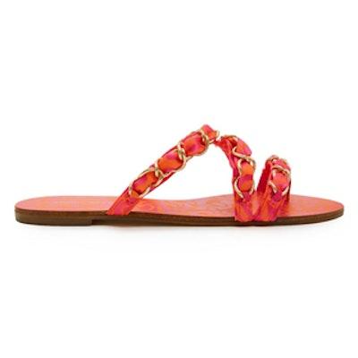 Taya Chain-Embellished Satin Sandals
