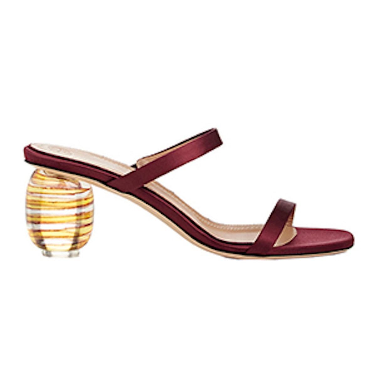 Acrylic-Glass-Heel Satin Sandals