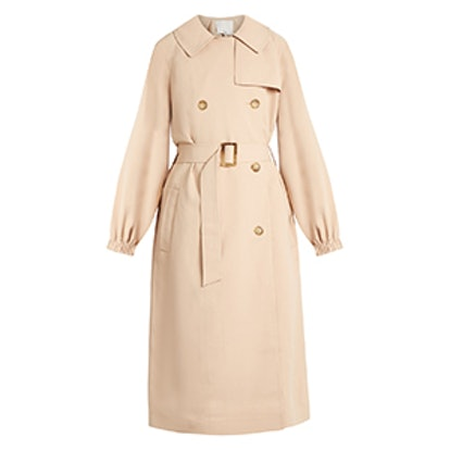 Notch-Lapel Double-Breasted Twill Trench Coat