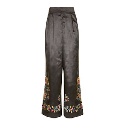 Satin Embroidered Trousers