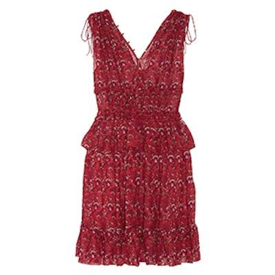 Noelle Printed Silk-Georgette Mini Dress