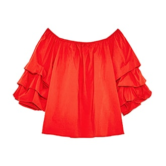 Off-The-Shoulder Blouse With Frills
