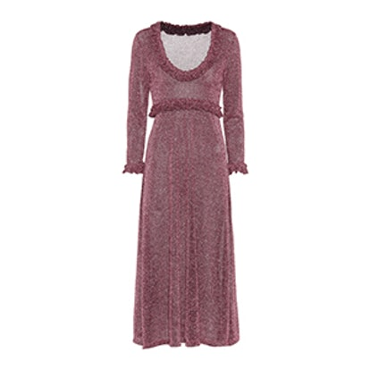Metallic Lamé Long-Sleeved Dress
