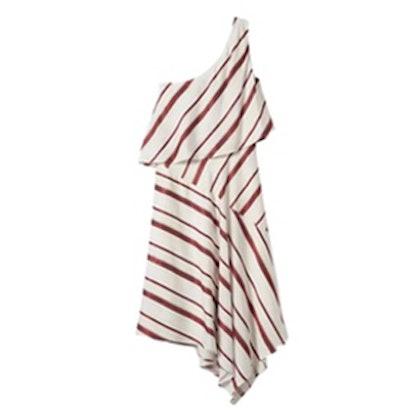 Stripe Layered One-Shoulder Dress