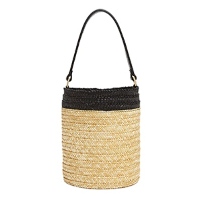 Caterina Bertini Small Straw Bucket Bag