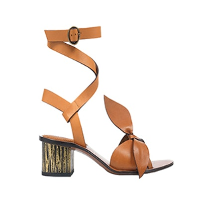 Bow-Detailed Embellished Leather Sandals in Tan