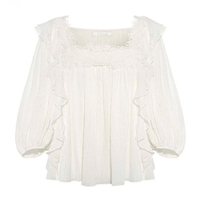 Ruffled Cotton And Silk-Blend Blouse