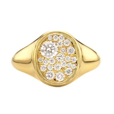 Pave Diamond Signet Ring Set In 18k Yellow Gold