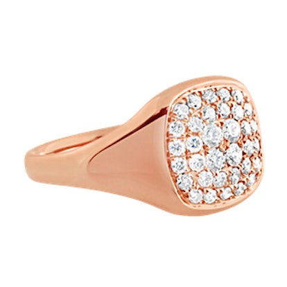 Diamond Signet Ring Rose Gold