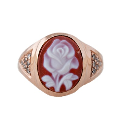 Carved Agate Rose Small Cameo Ring