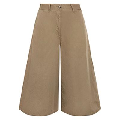 Cropped Wide-Leg Cotton Pants
