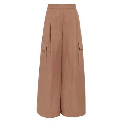 Cotton-Twill Wide-Leg Pants