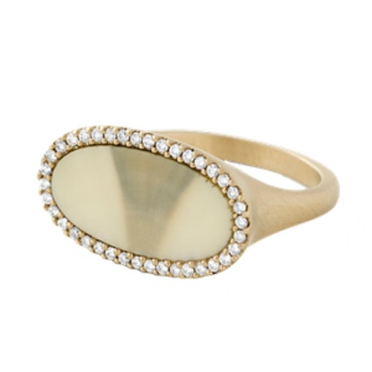 Grey Ombré Fossilized Walrus Ivory Oval Ring With White Diamond Pave