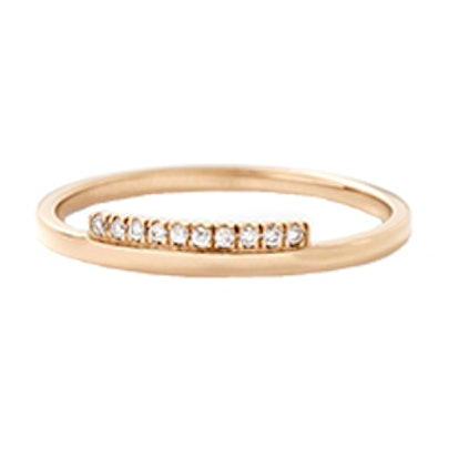 Gold Stacking Band With White Diamond Step