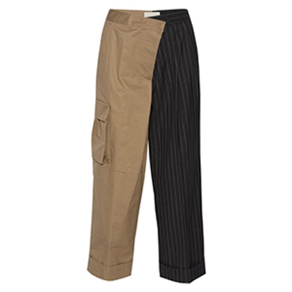 Paneled Cotton-Twill And Pinstriped Wool Wide-Leg Pants