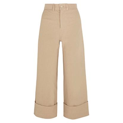 Cropped Stretch-Canvas Wide-Leg Pants