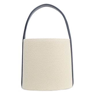Leather-Trimmed Cotton-Canvas Bucket Bag