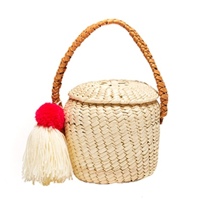 Merida Basket Woven Pom Pom Bag