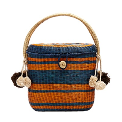 Cinto Striped Wicker Basket Bag