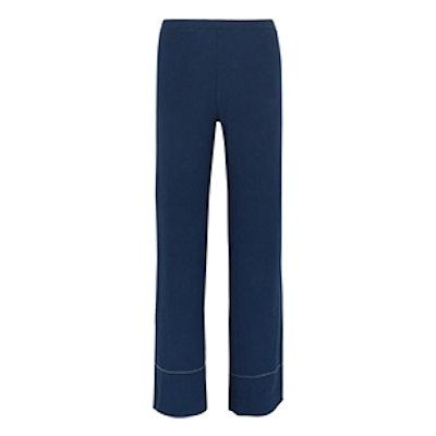Leone Ribbed Stretch-Knit Wide-Leg Pants