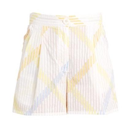 Macha Stripe-Print Cotton-Voile Shorts