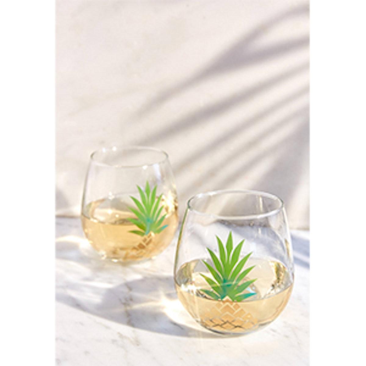 Metallic Pineapple Stemless Wine Glass Set