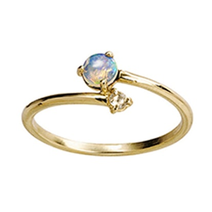 Opal With Diamond Crossover Ring
