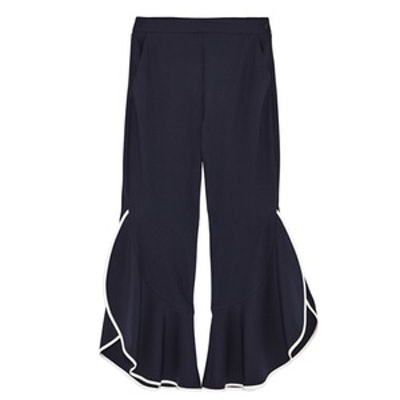 High Waist Contrasting Frilled Trousers