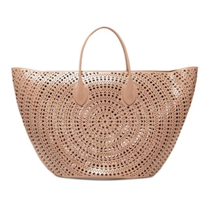 Large Laser-Cut Leather Tote