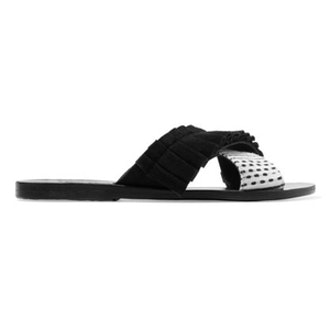 Thais Ruffled Suede And Jacquard Slides