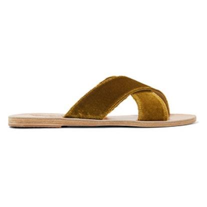 Thais Velvet And Leather Slides