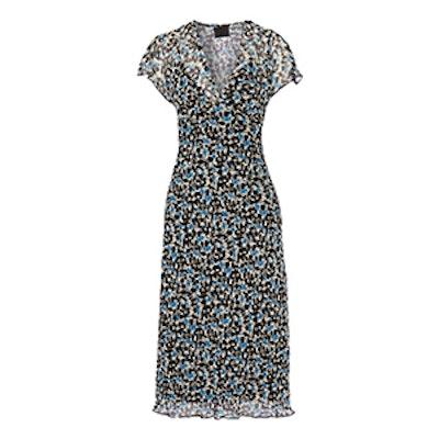 Floral-Print Crinkled Silk-Chiffon Midi Dress