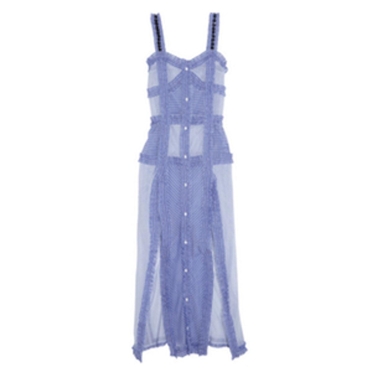 Margarita Ruffled Striped Cotton And Silk-Blend Maxi Dress