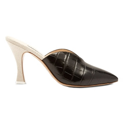 Monica Point-Toe Leather And Canvas Mules